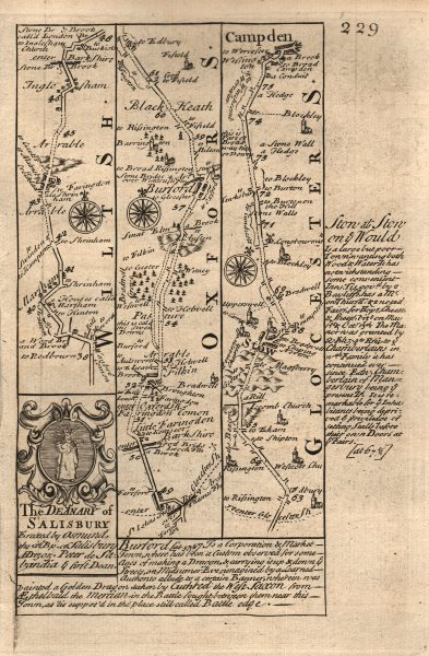 Associate Product Faringdon-Burford-Stow on the Wold-Chipping Campden OWEN/BOWEN road map 1753