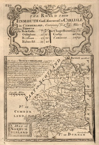 Associate Product 'A Map of Northumberland'. County map by J. OWEN & E. BOWEN 1753 old