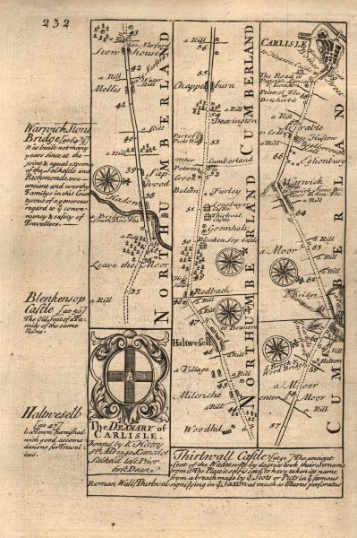 Associate Product Haydon Bridge-Haltwhistle-Warwick Bridge-Carlisle road map by OWEN & BOWEN 1753