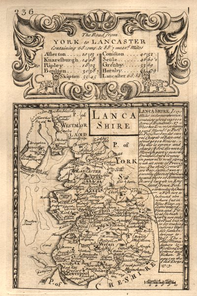 Associate Product 'Lancashire'. County map by J. OWEN & E. BOWEN 1753 old antique plan chart