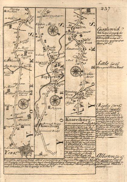 York-Knaresborough-Ripley road strip map by J. OWEN & E. BOWEN 1753 old