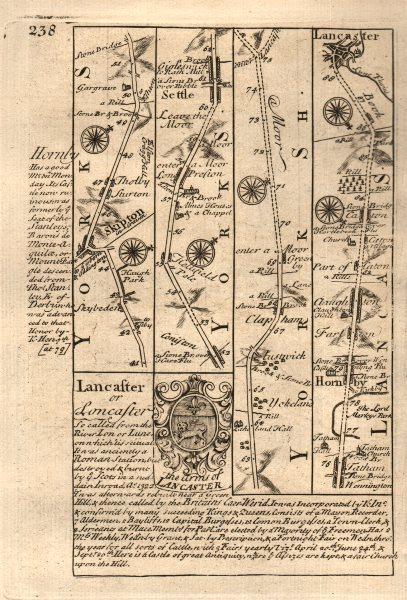 Associate Product Skipton-Settle-Hornby-Lancaster road strip map by J. OWEN & E. BOWEN 1753