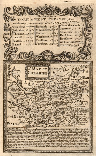 Associate Product 'A Map of Che-Shire'. County map by J. OWEN & E. BOWEN. Cheshire 1753 old