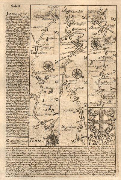 Associate Product York-Tadcaster-Leeds road strip map by J. OWEN & E. BOWEN 1753 old antique