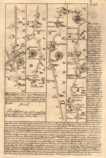 Associate Product Buxton-Hurdlow-Weston Underwood-Derby road map by J. OWEN & E. BOWEN 1753