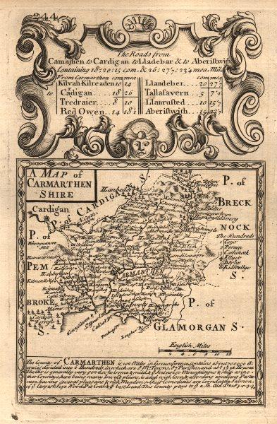 Associate Product 'A Map of Carmarthen Shire'. County map by OWEN & BOWEN. Carmarthenshire 1753