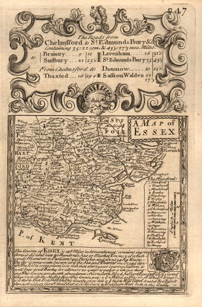 Associate Product 'A Map of Essex'. County map by J. OWEN & E. BOWEN 1753 old antique chart