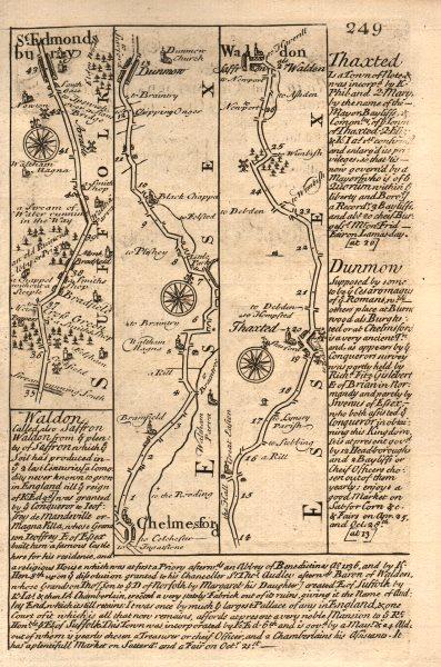 Associate Product Bury St Edmunds-Chelmsford-Thaxted-Saffron Walden road map by OWEN & BOWEN 1753