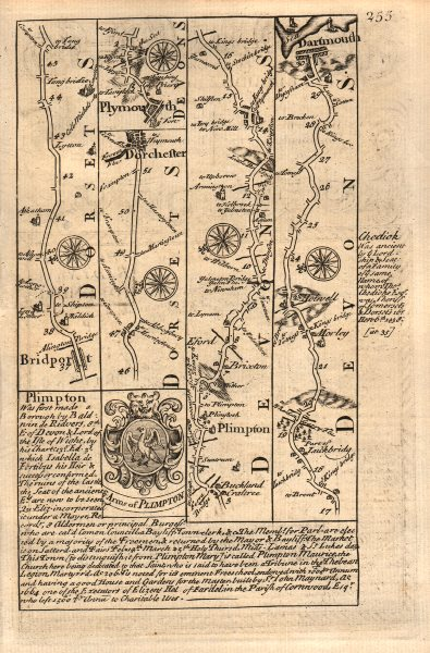 Associate Product Bridport-Dorchester-Plymouth-Dartmouth road map by J. OWEN & E. BOWEN 1753