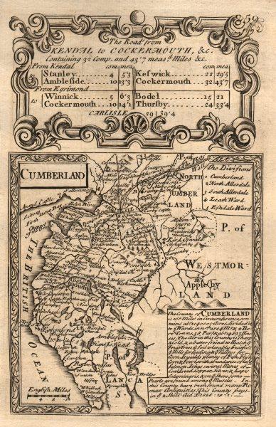 Associate Product 'Cumberland'. County map by J. OWEN & E. BOWEN. Cumbria 1753 old antique
