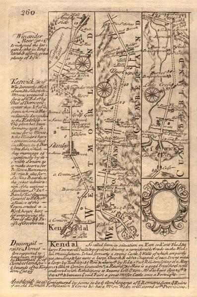 Associate Product Kendal-Windermere-Ambleside-Keswick road strip map by J. OWEN & E. BOWEN 1753