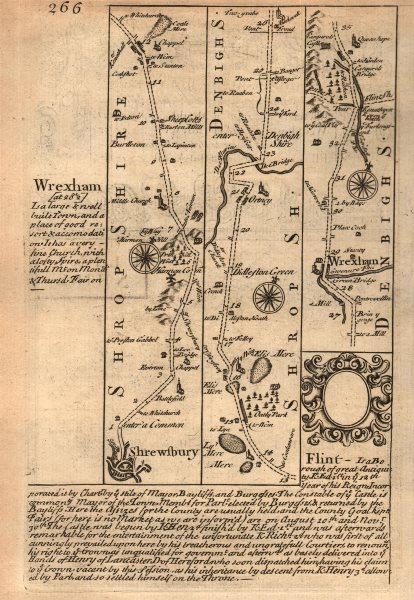 Associate Product Shrewsbury-Ellesmere-Dudleston-Wrexham road map by J. OWEN & E. BOWEN 1753