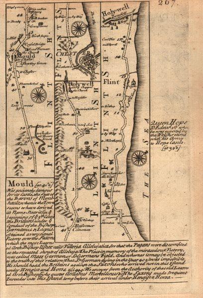 Associate Product Mold-Holywell-Chester-Flint-Holywell road strip map by J. OWEN & E. BOWEN 1753