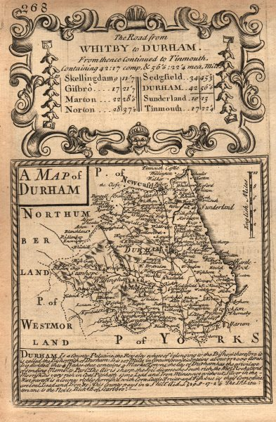 Associate Product 'A Map of Durham'. County map by J. OWEN & E. BOWEN 1753 old antique chart