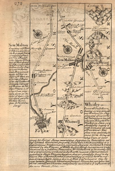 Associate Product York-Malton-Old Malton-Pickering road strip map by J. OWEN & E. BOWEN 1753