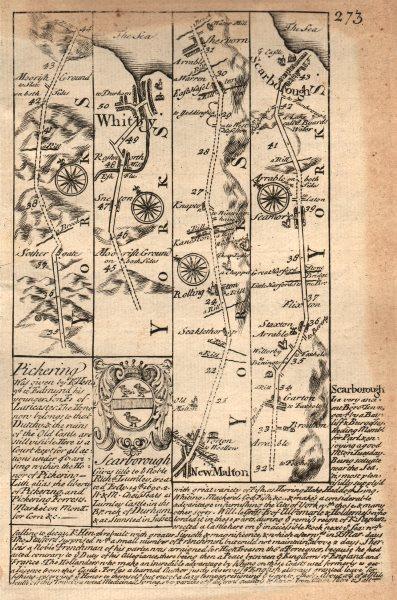Whitby-Malton-Seamer-Scarborough road strip map by J. OWEN & E. BOWEN 1753