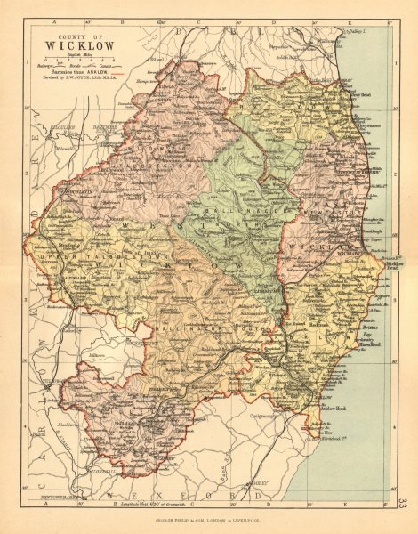 Associate Product COUNTY WICKLOW. Antique county map. Leinster. Ireland. BARTHOLOMEW c1902