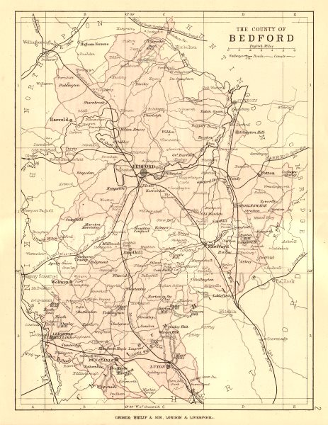 Associate Product BEDFORDSHIRE. Antique county map. Railways roads canals. PHILIP 1884 old