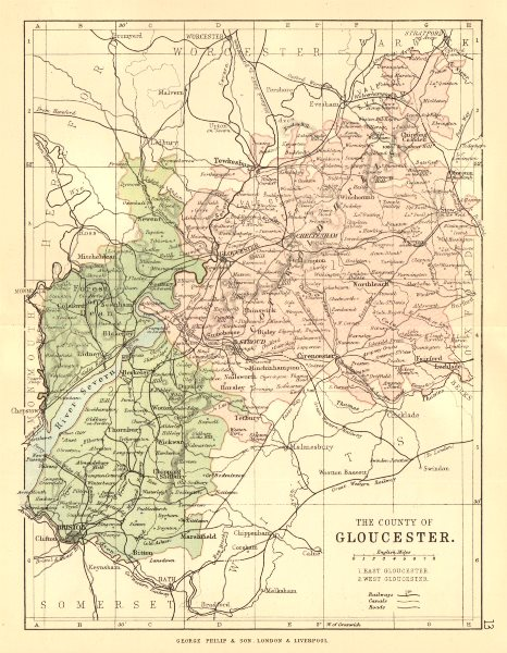 Associate Product GLOUCESTERSHIRE. County map. Railways canals. Constituencies. PHILIP 1884