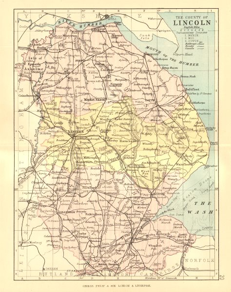 Associate Product LINCOLNSHIRE. Antique county map. Railways canals. Constituencies. PHILIP 1884