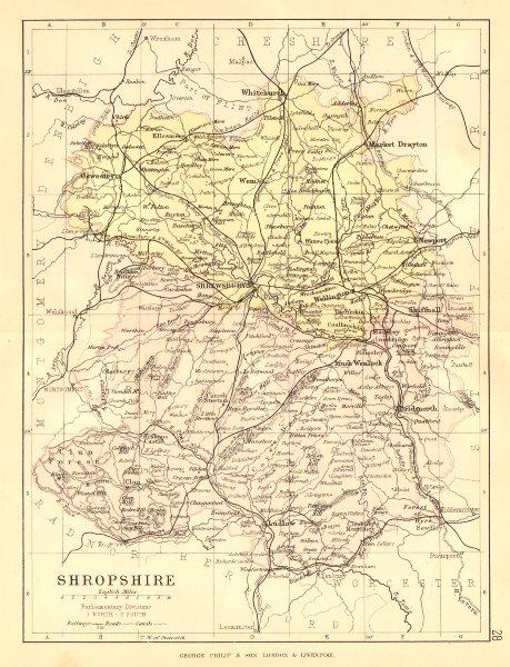 Associate Product SHROPSHIRE. Antique county map. Railways canals. Constituencies. PHILIP 1884