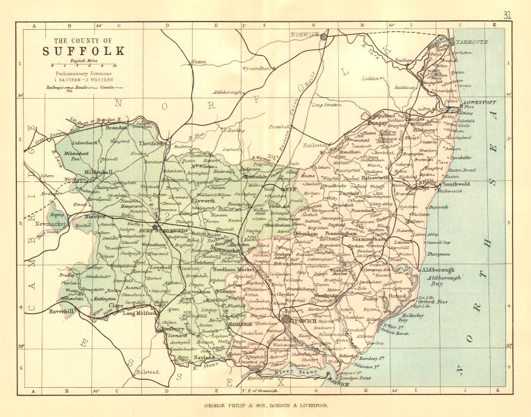 Associate Product SUFFOLK. Antique county map. Railways roads canals. Constituencies. PHILIP 1884