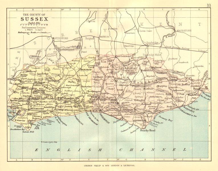 Associate Product SUSSEX. Antique county map. Railways roads canals. Constituencies. PHILIP 1884
