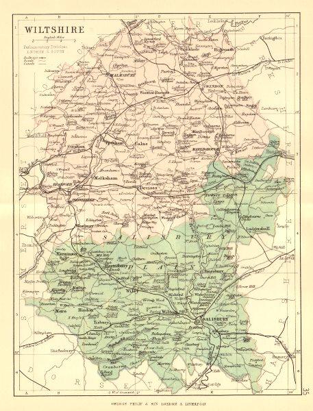 Associate Product WILTSHIRE. Antique county map. Railways roads canals constituencies. PHILIP 1884
