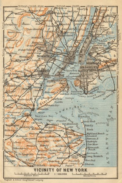 Associate Product NEW YORK CITY Metro area. Brooklyn Newark Jersey City. BAEDEKER 1904 old map