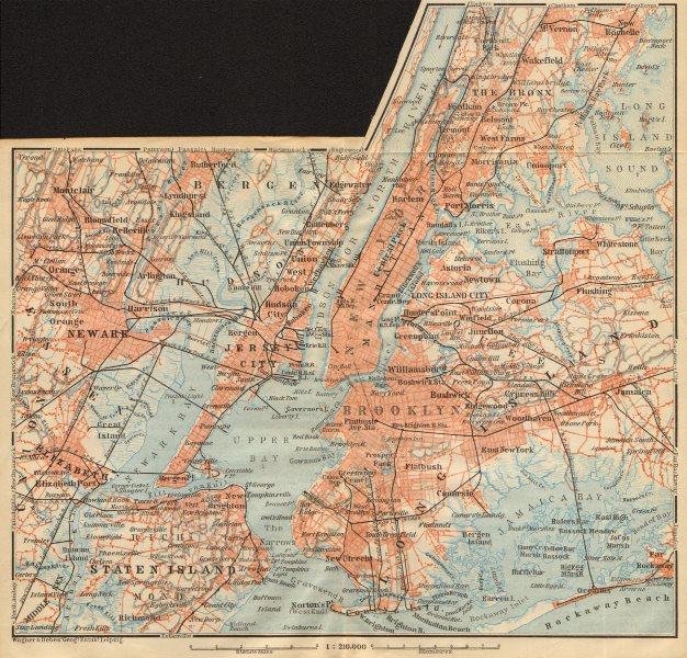 Map Of New York Bronx.Details About New York City Manhattan Bronx Brooklyn Staten Is Newark Jersey City 1904 Map