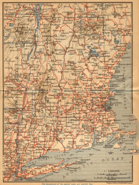 Associate Product RAILWAY MAP OF THE NEW ENGLAND STATES. USA. BAEDEKER 1904 old antique