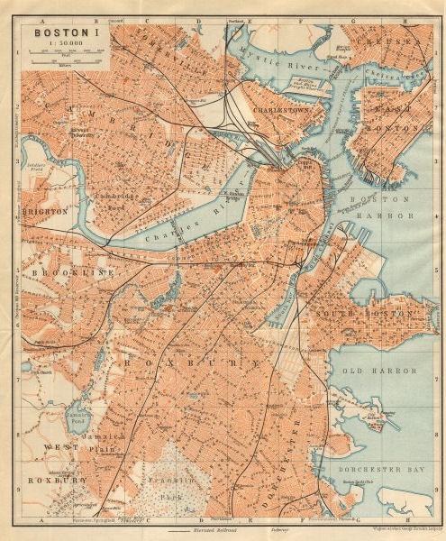 Associate Product BOSTON town city plan. Cambridge Brookline Roxbury Massachusetts 1904 old map