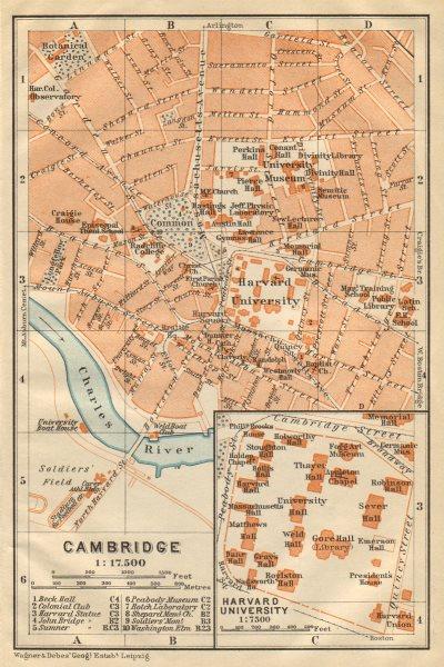 Associate Product CAMBRIDGE, Massachusetts town city plan. Inset Harvard University 1904 old map