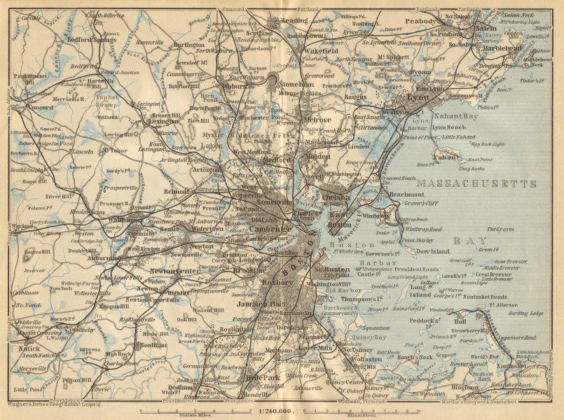 Associate Product BOSTON ENVIRONS. Massachusetts Bay Lynn. BAEDEKER 1904 old antique map chart