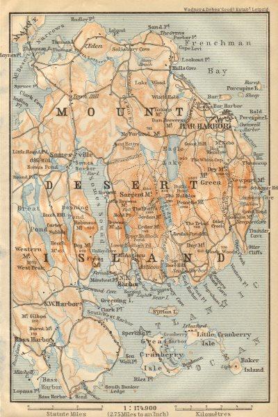 Associate Product MOUNT DESERT ISLAND. Maine. Bar Harbor. BAEDEKER 1904 old antique map chart