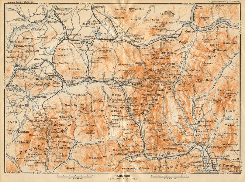 Associate Product WHITE MOUNTAINS, New Hampshire. Franconia Mtns. Mount Washington 1904 old map
