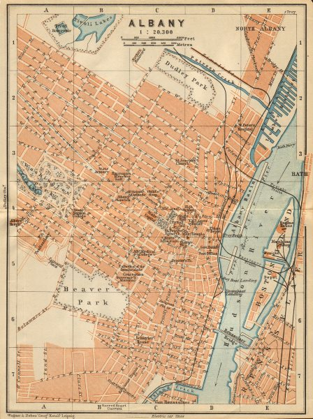 Associate Product ALBANY antique town city plan. New York State. BAEDEKER 1904 old map
