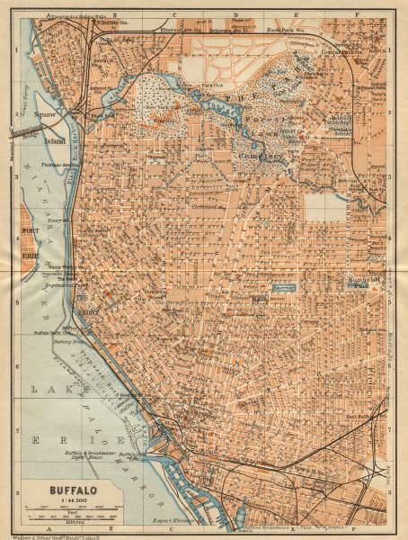 Associate Product BUFFALO antique town city plan. New York State. BAEDEKER 1904 old map