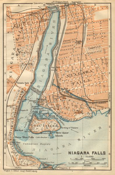 Associate Product NIAGARA FALLS antique town city plan. New York State. BAEDEKER 1904 old map