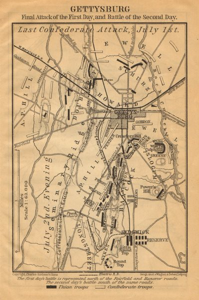 Associate Product GETTYSBURG BATTLEFIELD. Last confederate attack July 1-2. Pennsylvania 1904 map