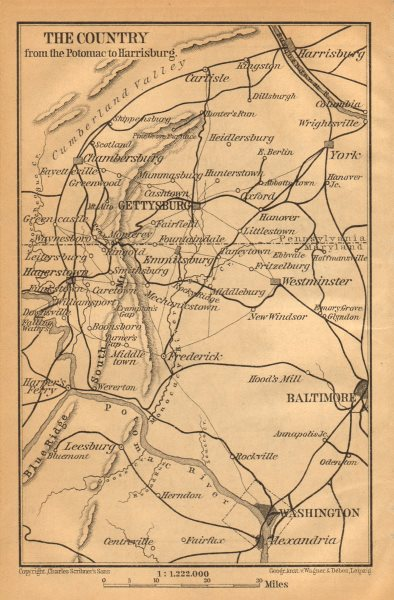 Associate Product GETTYSBURG environs. Pennsylvania Maryland. Washington Baltimore 1904 old map