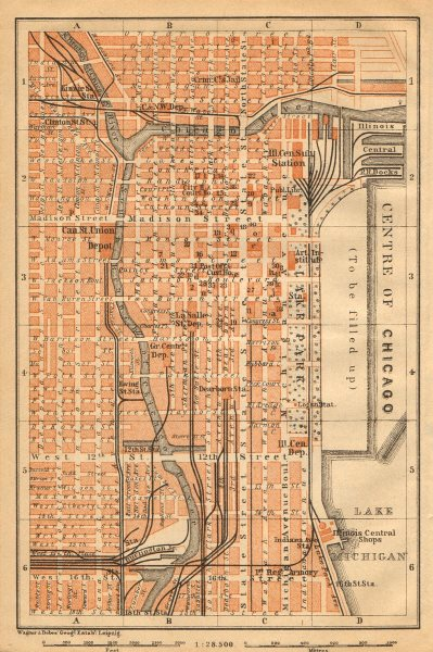 CHICAGO LOOP. 'Centre of Chicago'. Downtown CBD. BAEDEKER 1904 old antique map