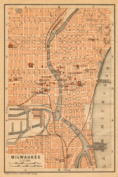 Associate Product MILWAUKEE antique town city plan. Wisconsin. BAEDEKER 1904 old map