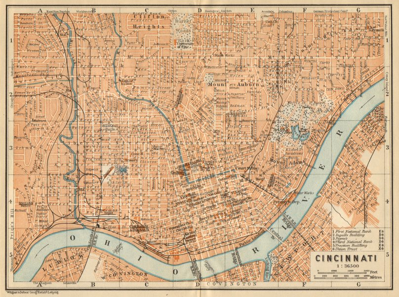 Associate Product CINCINNATI antique town city plan. Ohio. BAEDEKER 1904 old map chart
