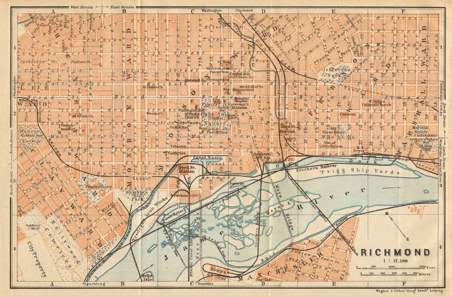 Associate Product RICHMOND antique town city plan. Virginia. BAEDEKER 1904 old map chart