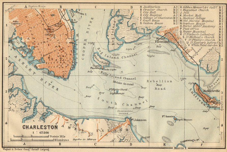 Associate Product CHARLESTON antique town city & harbor plan. South Carolina. BAEDEKER 1904 map