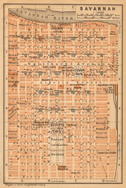 Associate Product SAVANNAH antique town city plan. Georgia, US. BAEDEKER 1904 old map