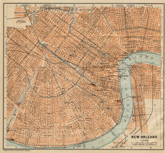 Associate Product NEW ORLEANS city plan. French Quarter Mid City Treme-Lafitte Louisiana 1904 map