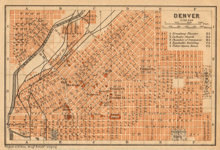 Associate Product DENVER antique town city plan. Colorado. BAEDEKER 1904 old map chart