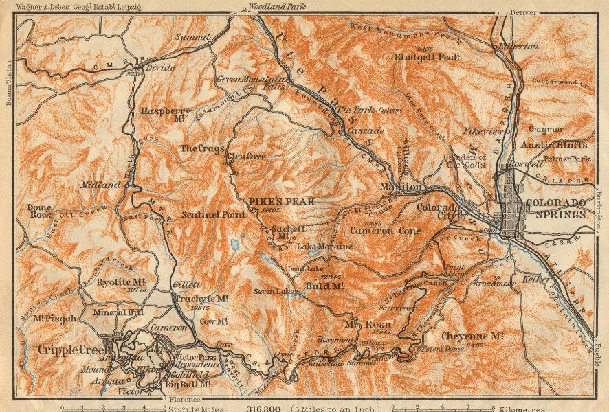 Associate Product COLORADO SPRINGS environs. Pike's Peak Cripple Creek. BAEDEKER 1904 old map